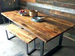 round wood dining table with metal base metal and wood dining set industrial modern dining table