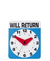 will return wall clock and more weird gift ideas at perpetual kid keep your co workers guessing on when you ll be returning set our will return wall clock
