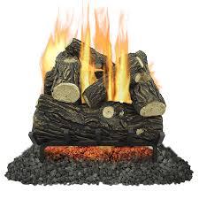 pleasant hearth 18 in 45000 btu dual burner vented gas fireplace logs