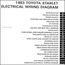 1983 toyota starlet wiring diagram manual original covers all 1983 toyota starlet models this book measures 11 x 8 5 and is 0 19 thick buy now for the best electrical information available