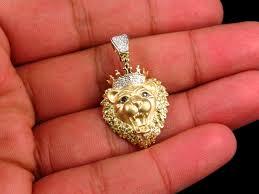 10k yellow gold genuine diamond 3d king lion head charm pendant 0 50ct 1 50