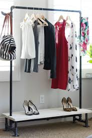 ... Wardrobe Racks, How To Make Garment Rack Diy Clothes Rack Garage Sale  Modern Industrial Clothes ...