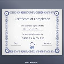 Templates For Certificates Of Completion Elegant Certificate Of Completion Template Vector Free Download