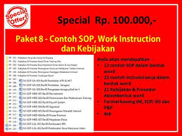 Jual Paket 8 Contoh Sop Work Instruction Dan Kebijakan Di Industry Retail Di Lapak Behumanpro Brawijayabatam
