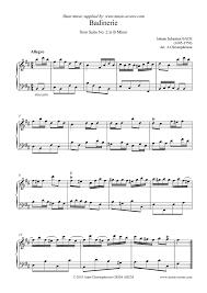 bach sheet music piano suite no 2 in b minor badinerie piano sheet music by johann