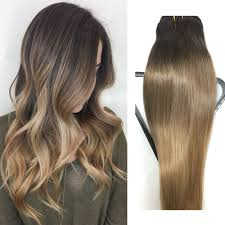 Dark Brown Hair Light Brown Balayage Clip In Hair Extensions Human Hair 20 Inch Dark Brown With Light Brown Dip Dyed Ombre Balayage