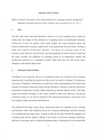 001 Article Critique Example Of Research Paper In Apa Museumlegs