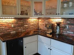 Thin brick tile backsplash installed in kitchen. A similar look can be  achieved with our