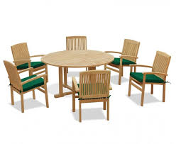 6 seater teak garden furniture set with canfield round table 1 5m bali stacking chairs