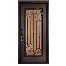 Residential front doors wood Fiberglass Armonia Classic Full Lite Painted Oil Rubbed Bronze Wrought Iron Prehung Front Door Clopay Garage Doors Iron Doors Unlimited 46 In 975 In Armonia Classic Full Lite