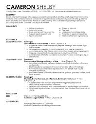 sample paralegal resumes