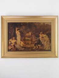 antique crystoleum victorian picture in gilt frame