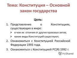 Презентация на тему Конституции зарубежных стран часа  Тема Конституция Основной закон государства Цель 1 Представление о Конституциях существующих