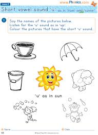Phonics worksheets and online activities. Phonics Worksheets Lesson 2 Short Vowel U