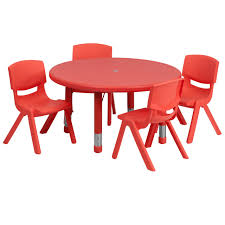33 round adjule red plastic activity table set with 4 school stack chairs