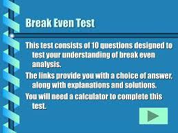Ppt Break Even Test Powerpoint Presentation Id 4090828