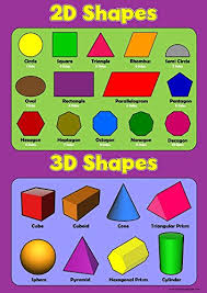 3d Figures Chart 2d Shapes 3d Shapes Childrens Basic Wall Chart Educational Numeracy Childs Poster Art Print Wallchart
