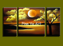 3 piece abstract modern canvas wall decorative acrylic moon cloud trees oil painting canvas for living home bedroom decoration in painting calligraphy