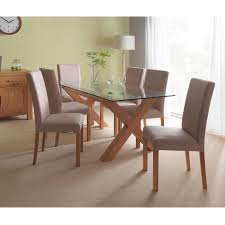 Oak Chairs For Kitchen Table Casa Web Oakley Glass Table 6 Cha Dining Set Oak Leekes