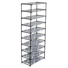 Home Basics 10 Tier Coated Non Woven Shoe Rack Shoe racks shelves Black Shoe Storage Closet Storage 29