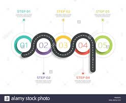 Winding Road Way Location Infographic Template With A Phased