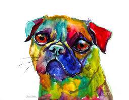 pug painting colorful pug dog painting by svetlana novikova
