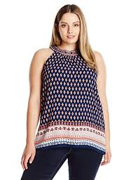 Blu Pepper Size Chart Blu Pepper Womens Plus Size Woven Border Printed Halter Top