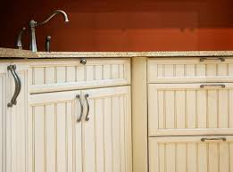 white beadboard kitchen cabinet doors with brushed nickel pulls