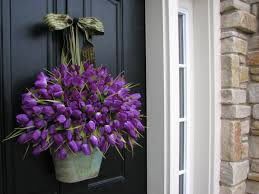 Front Door Decorating Endearing Front Door Decorations With Purple Flower And Green