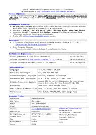 Resume Format For Experienced Software Developer It Resume Cover