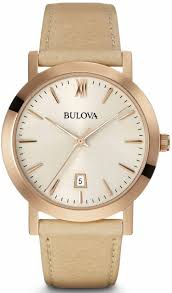 women s bulova classic brown and rose leather watch 97b144 loading zoom