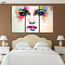 Piece Canvas Picture Watercolor Paintings Color Woman Face Art Wall  Painting Ideas For Living Room Bedroom