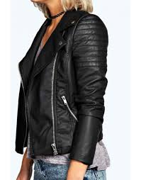 jade vegan leather biker jacket black
