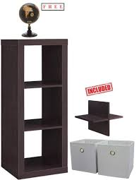 com better homes and gardens 3 cube storage organizer bookshelf in weathered with free kitchen dining
