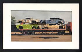 john austin tempera on artist board demolition derby cars