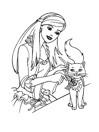 barbie princess with cat coloring pages for s