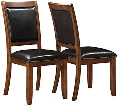 details about new set of 2 brown faux leather side dining chair espresso wood legs modern