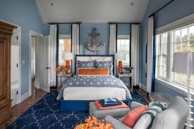 nautical style in the guest bedroom polished yet fun the guest bedroom blue orange bedroom bedroom colors brown furniture bedroom archives