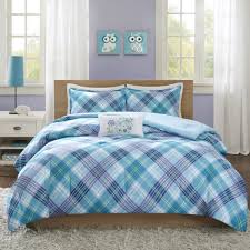 bedding mainstays blue plaid bed in a bag plete bedding set with regard to comforters for