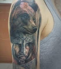 татуировка на плече у парня воин и медведь фото рисунки эскизы