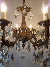 8 arm aged brass crystal chandelier rewired c 1900 12 of 15