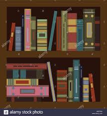 huge set of old books on bookshalf flat vector