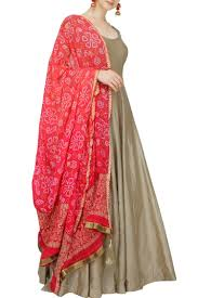 Bandhej Dupatta Designs Grey Anarkali With Pink Bandhani Dupatta Indian Designer