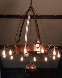 large arts and crafts 12 branch copper chandelier vinate retro lighting