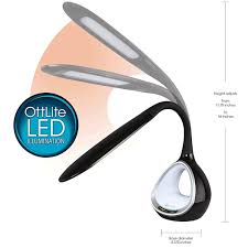 ottlite led desk lamp with colour changing tunnel and usb phone charging port black co uk lighting