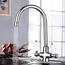 Traditional Victorian Kitchen Sink Mixer Tap in Chrome with <b>Dual</b> ...