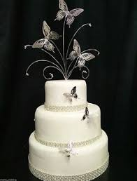 Crystal Silver Butterfly Wedding Cake Topper 3 Butterfly Side