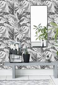 Zelfklevend Behang Exotische Planten Zwart Wit 60x275 Cm Tapetshow
