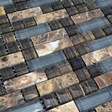 natural stone with hand painted glass mosaic sheets emperador dark marble tile backsplash wall kitchen sg077