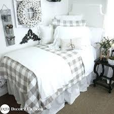 dorm bed skirt gingham bed skirt farmhouse tan gingham check plaid duvet designer dorm bedding set